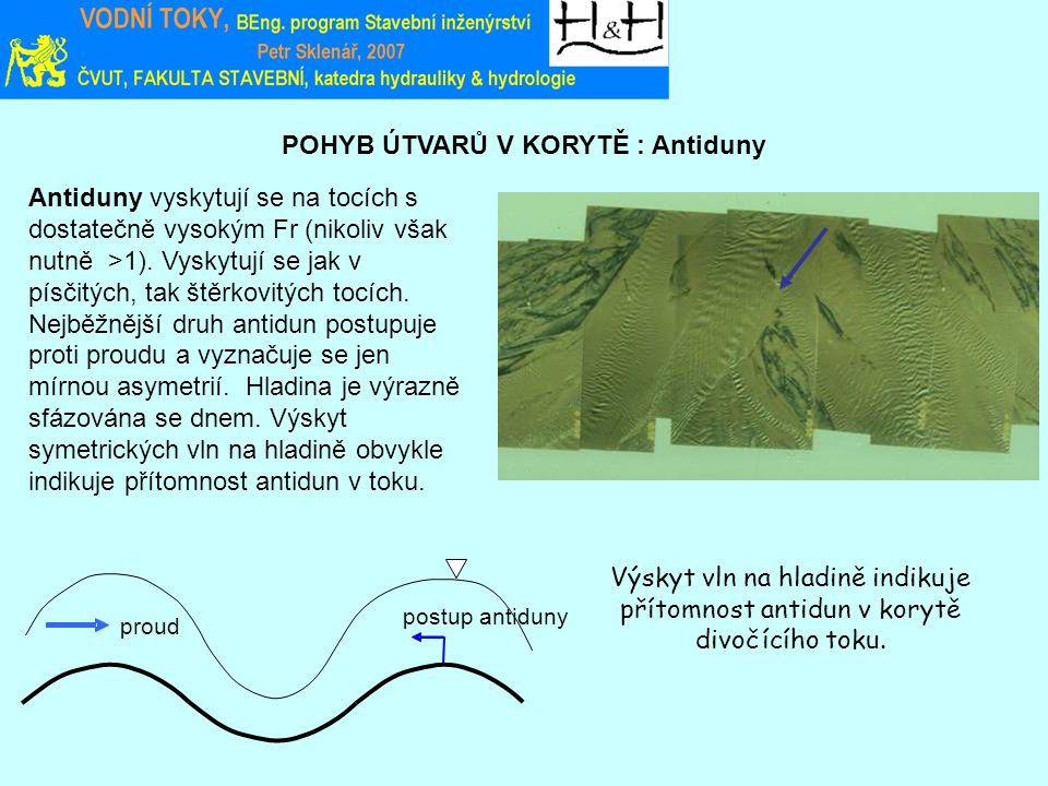 POHYB ÚTVARŮ V KORYTĚ : Antiduny Výskyt vln na hladině indikuje přítomnost antidun v korytě divočícího toku. Antiduny vyskytují se na tocích s dostate