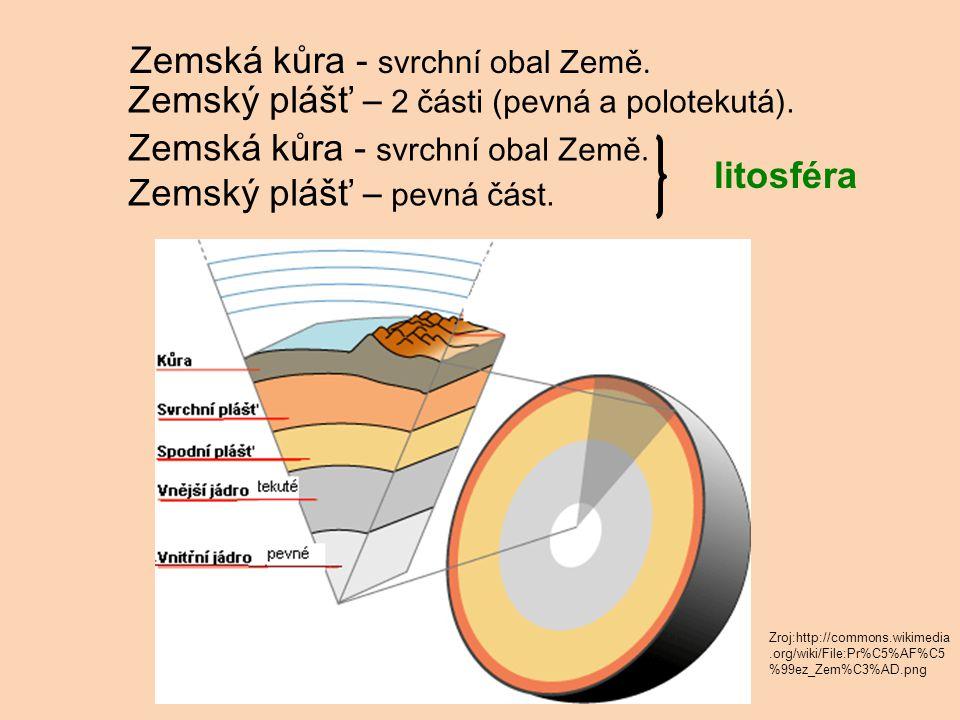 Zemská kůra - svrchní obal Země. Zemský plášť – 2 části (pevná a polotekutá).