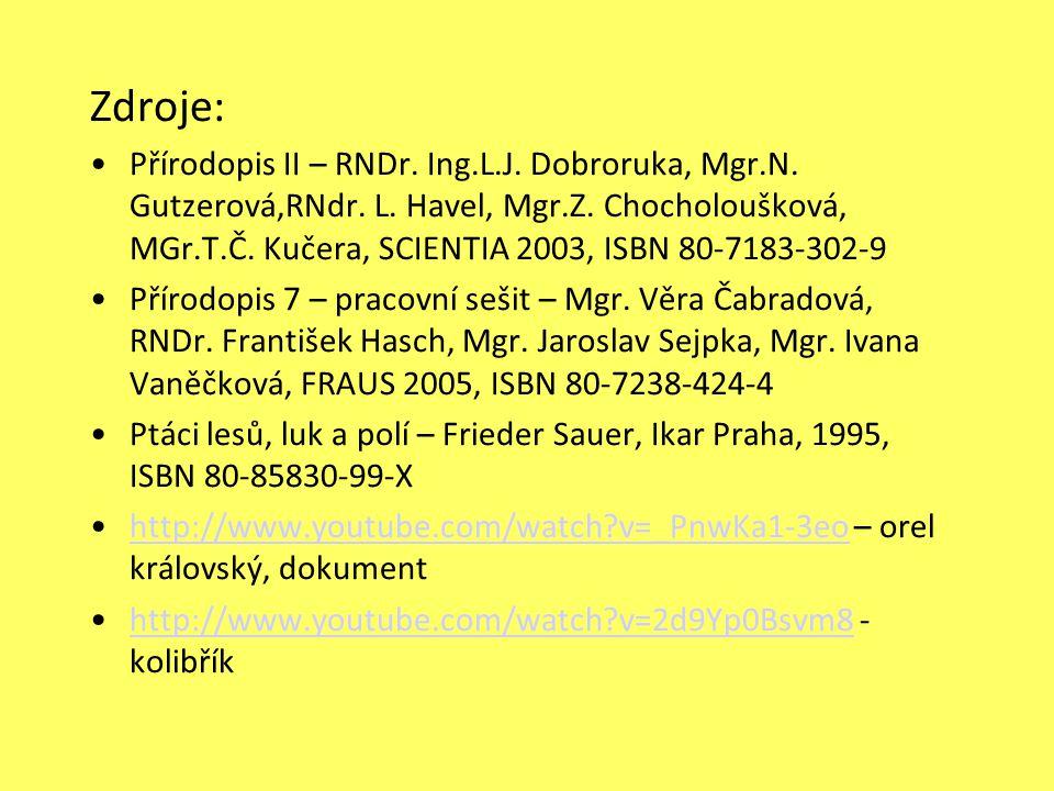 Zdroje: Přírodopis II – RNDr.Ing.L.J. Dobroruka, Mgr.N.