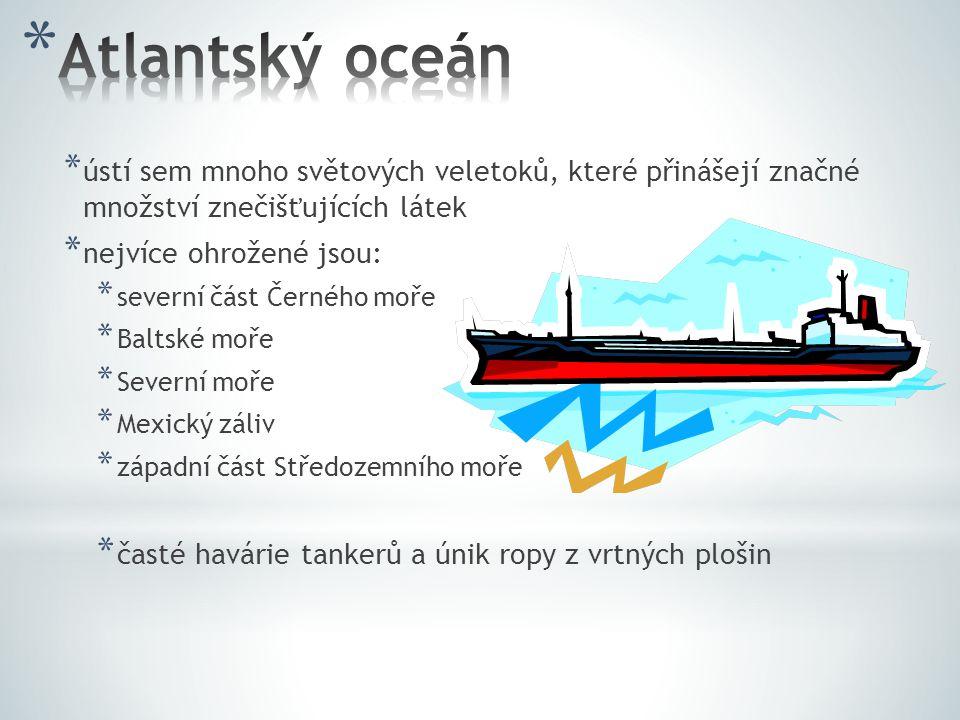 * ústí sem mnoho světových veletoků, které přinášejí značné množství znečišťujících látek * nejvíce ohrožené jsou: * severní část Černého moře * Balts