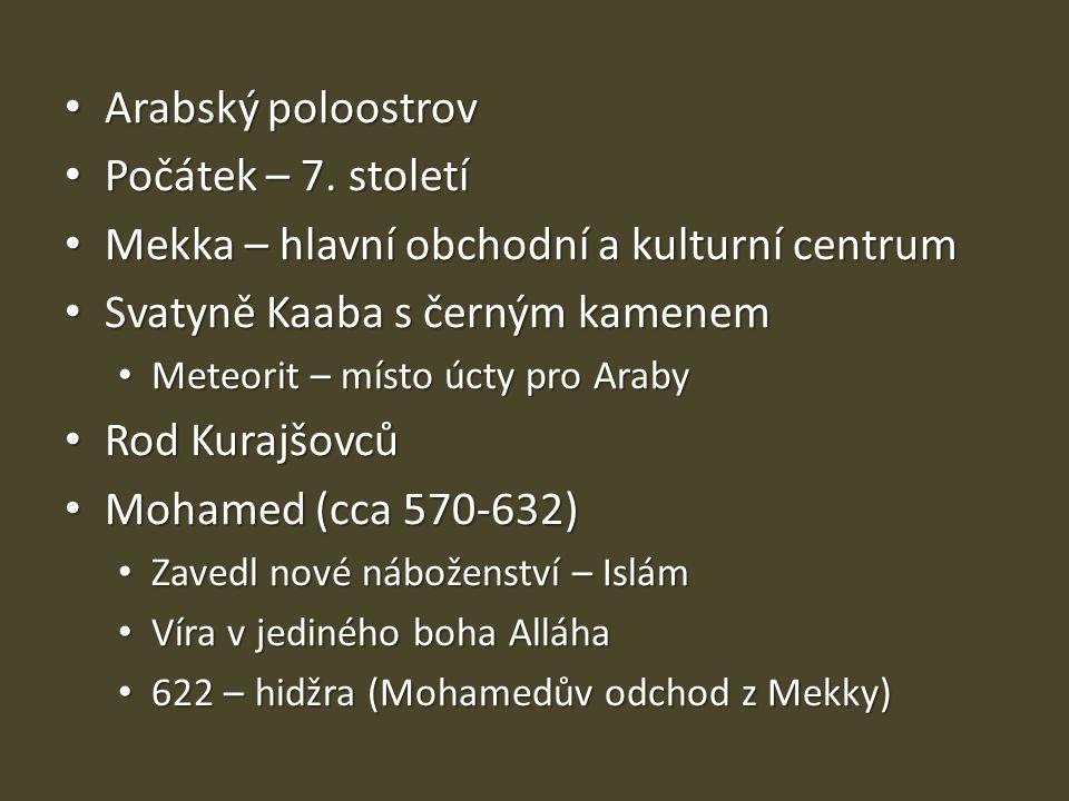 Arabský poloostrov Arabský poloostrov Počátek – 7. století Počátek – 7. století Mekka – hlavní obchodní a kulturní centrum Mekka – hlavní obchodní a k