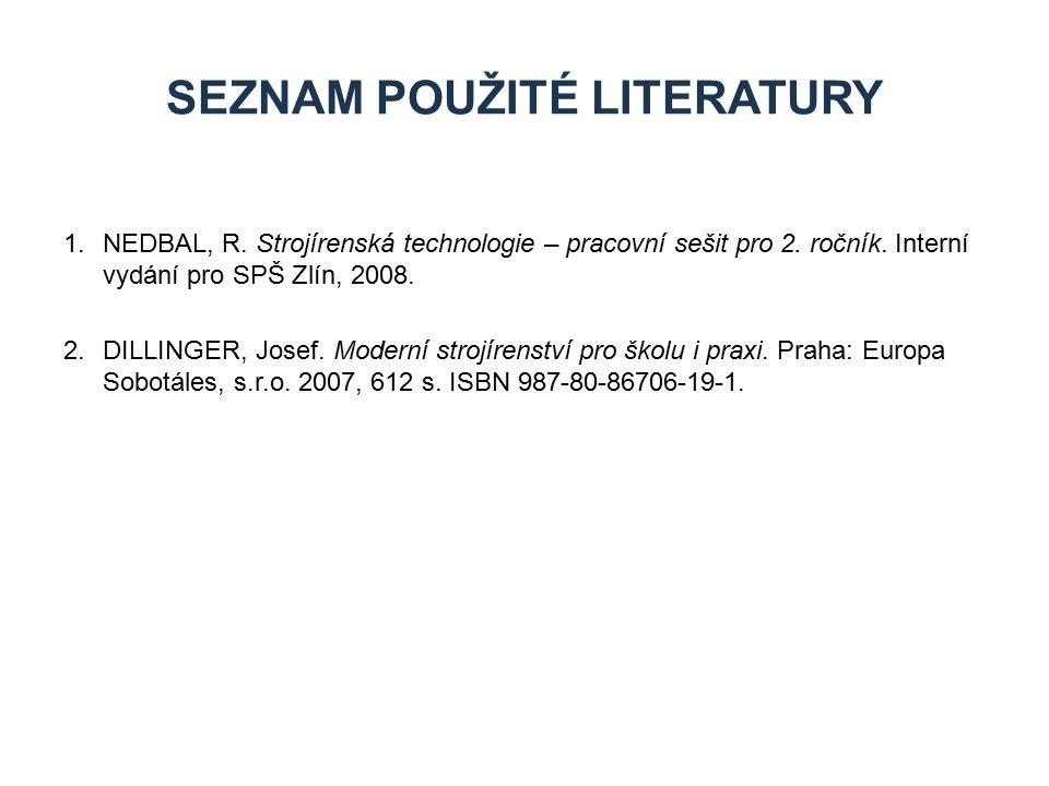 1.NEDBAL, R. Strojírenská technologie – pracovní sešit pro 2. ročník. Interní vydání pro SPŠ Zlín, 2008. 2.DILLINGER, Josef. Moderní strojírenství pro