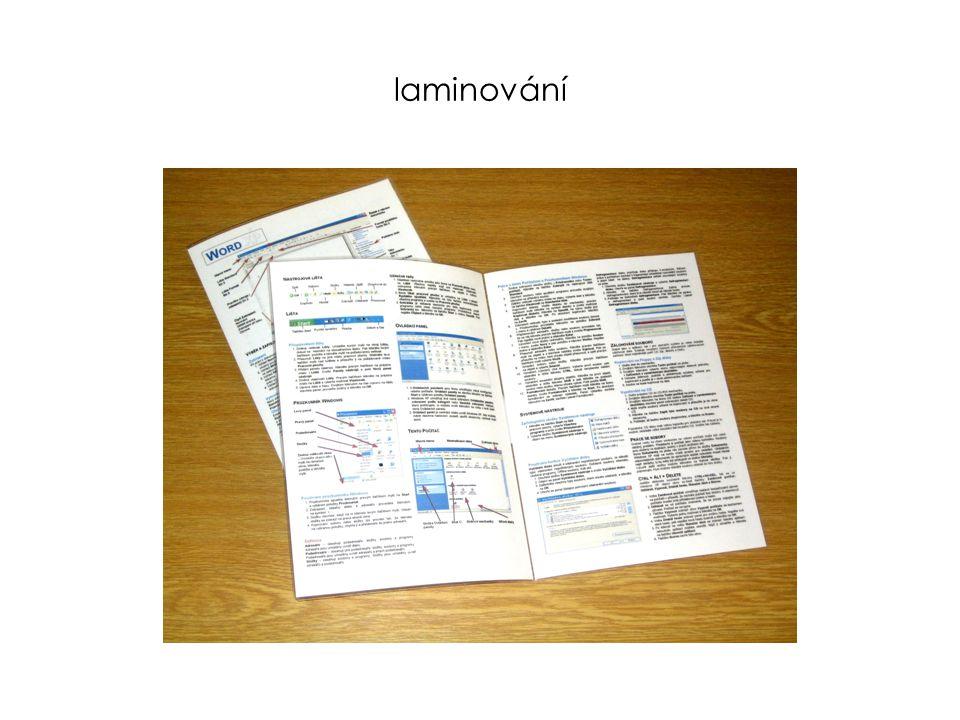 laminování - formáty A3 – A7 (průkazy)