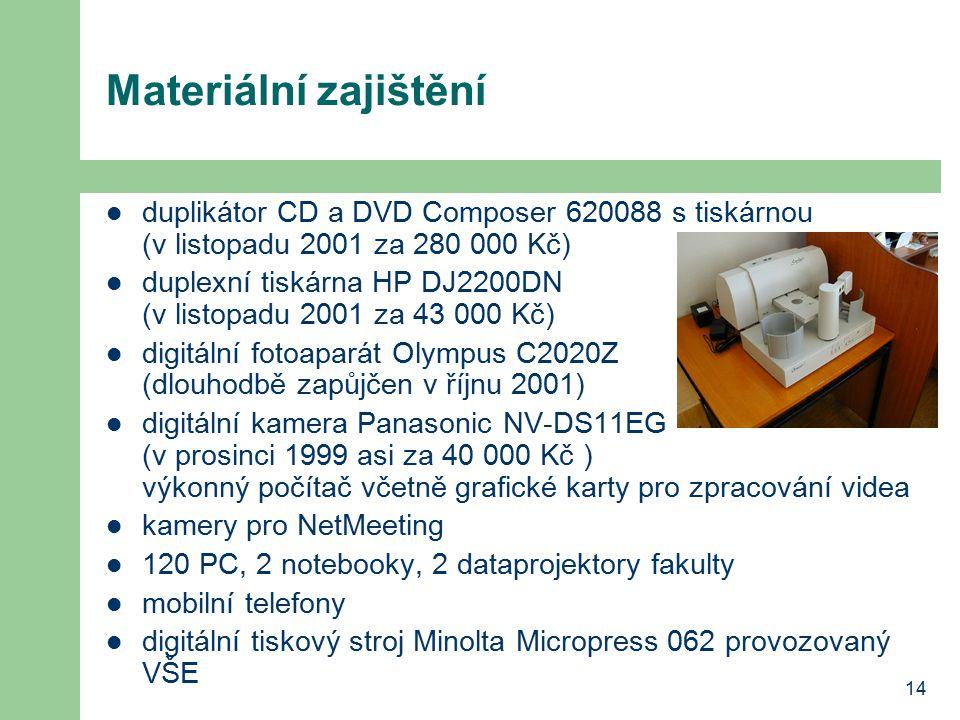 14 Materiální zajištění duplikátor CD a DVD Composer 620088 s tiskárnou (v listopadu 2001 za 280 000 Kč) duplexní tiskárna HP DJ2200DN (v listopadu 2001 za 43 000 Kč) digitální fotoaparát Olympus C2020Z (dlouhodbě zapůjčen v říjnu 2001) digitální kamera Panasonic NV-DS11EG (v prosinci 1999 asi za 40 000 Kč ) výkonný počítač včetně grafické karty pro zpracování videa kamery pro NetMeeting 120 PC, 2 notebooky, 2 dataprojektory fakulty mobilní telefony digitální tiskový stroj Minolta Micropress 062 provozovaný VŠE