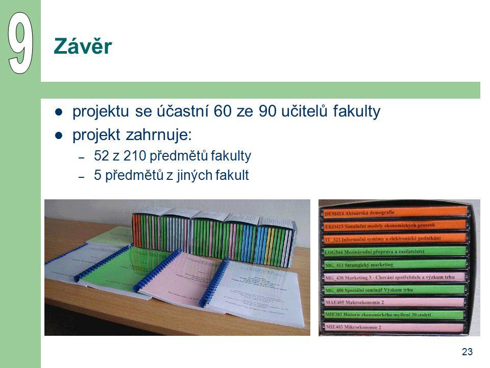 23 Závěr projektu se účastní 60 ze 90 učitelů fakulty projekt zahrnuje: – 52 z 210 předmětů fakulty – 5 předmětů z jiných fakult