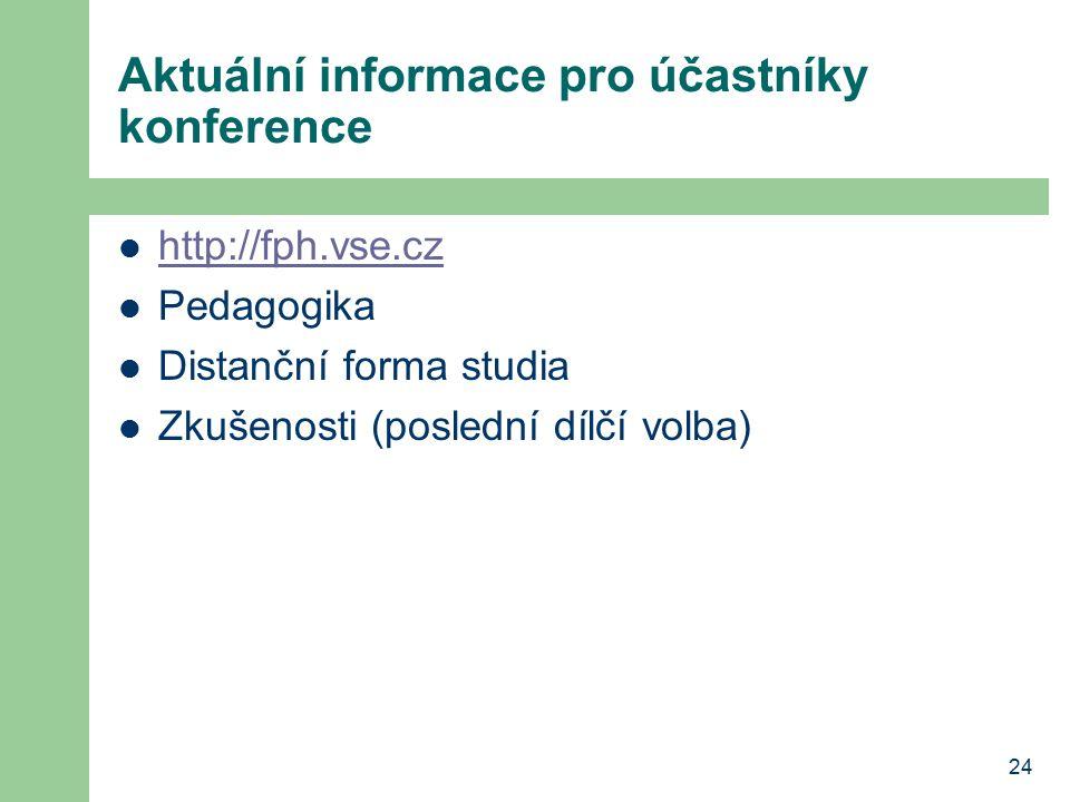24 Aktuální informace pro účastníky konference http://fph.vse.cz Pedagogika Distanční forma studia Zkušenosti (poslední dílčí volba)
