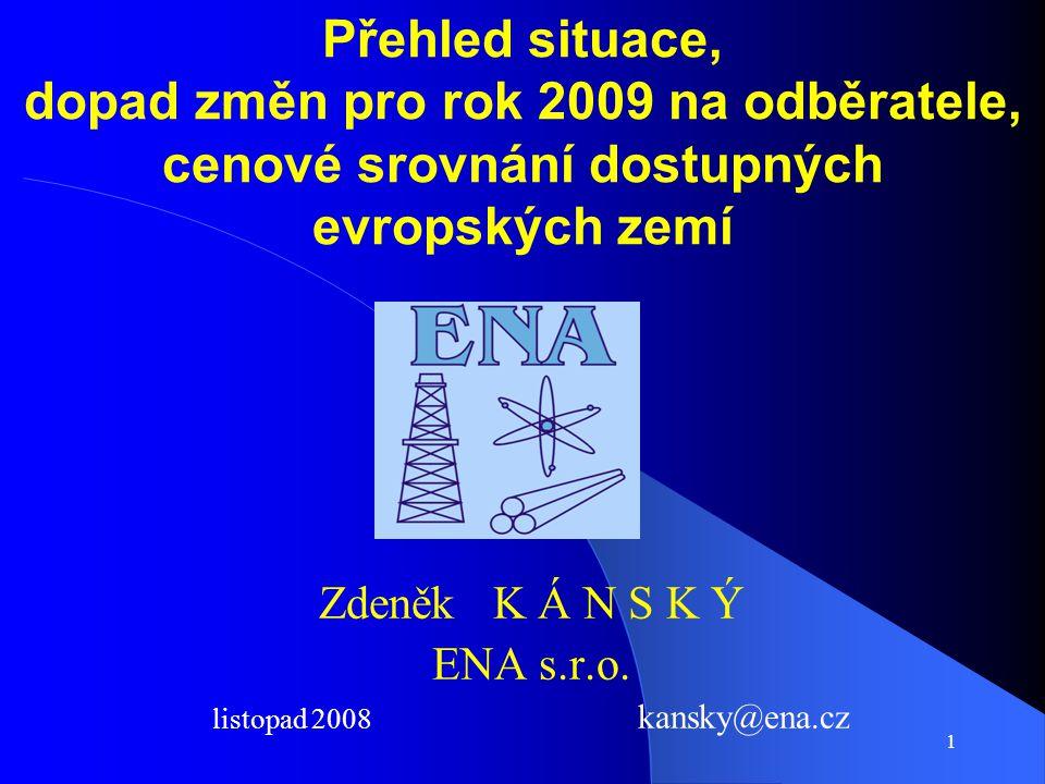 1 Přehled situace, dopad změn pro rok 2009 na odběratele, cenové srovnání dostupných evropských zemí Zdeněk K Á N S K Ý ENA s.r.o.