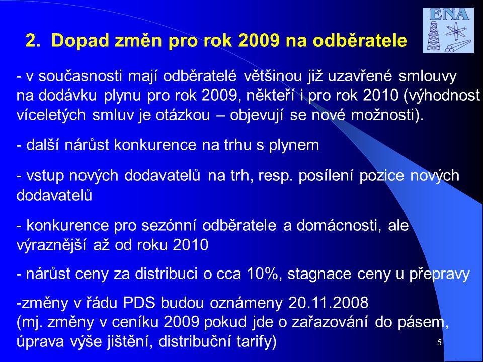 5 2. Dopad změn pro rok 2009 na odběratele - v současnosti mají odběratelé většinou již uzavřené smlouvy na dodávku plynu pro rok 2009, někteří i pro