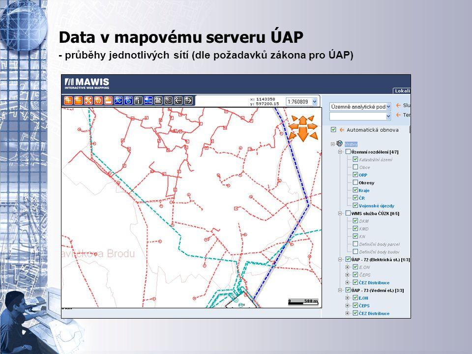 Úvodní stránka - partner v digitálním světě Data v mapovému serveru ÚAP - průběhy jednotlivých sítí (dle požadavků zákona pro ÚAP)