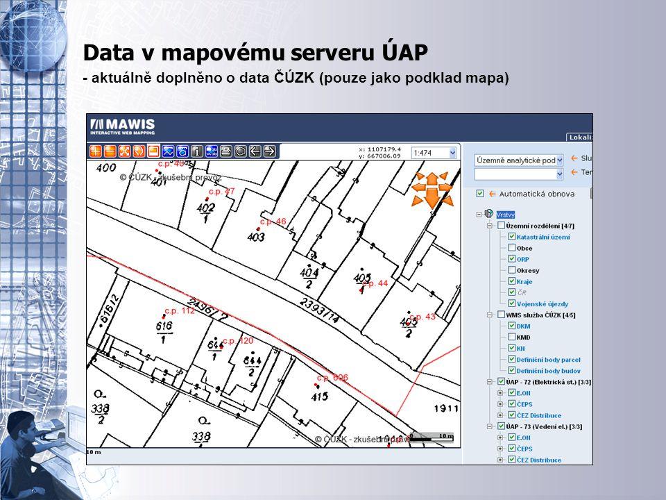 Úvodní stránka - partner v digitálním světě Data v mapovému serveru - možnost rozšířit o JDTMK