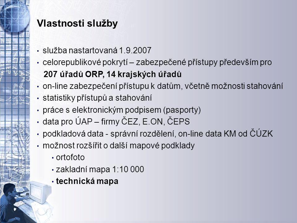 Úvodní stránka - partner v digitálním světě Vlastnosti služby služba nastartovaná 1.9.2007 celorepublikové pokrytí – zabezpečené přístupy především pro 207 úřadů ORP, 14 krajských úřadů on-line zabezpečení přístupu k datům, včetně možnosti stahování statistiky přístupů a stahování práce s elektronickým podpisem (pasporty) data pro ÚAP – firmy ČEZ, E.ON, ČEPS podkladová data - správní rozdělení, on-line data KM od ČÚZK možnost rozšířit o další mapové podklady ortofoto zakladní mapa 1:10 000 technická mapa