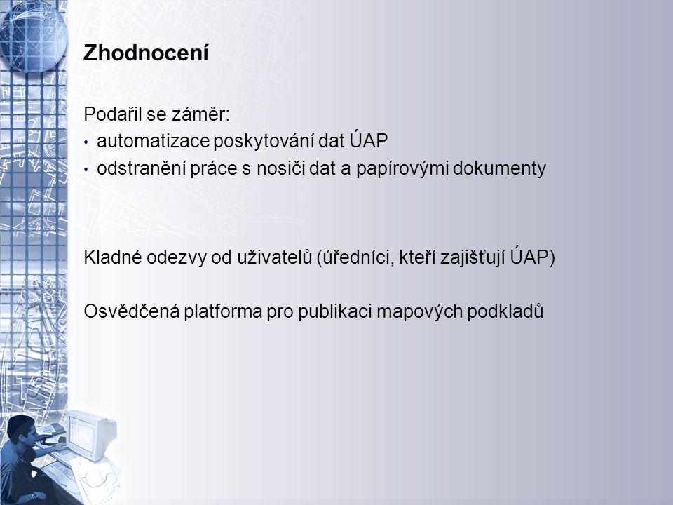 Úvodní stránka - partner v digitálním světě Zhodnocení Podařil se záměr: automatizace poskytování dat ÚAP odstranění práce s nosiči dat a papírovými d