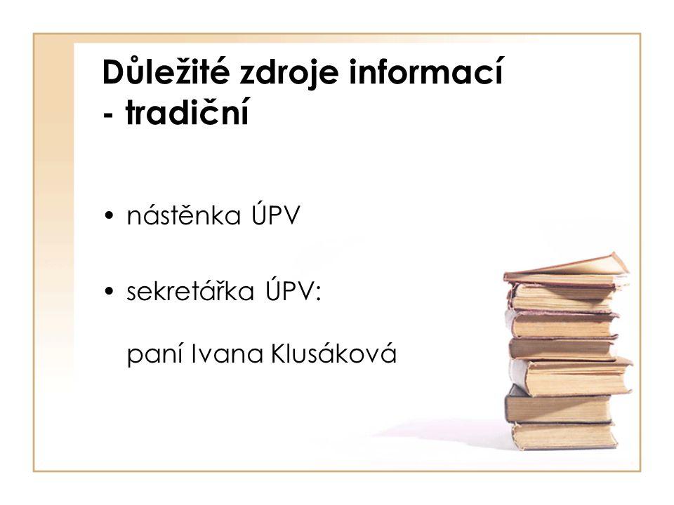 Důležité zdroje informací - tradiční nástěnka ÚPV sekretářka ÚPV: paní Ivana Klusáková