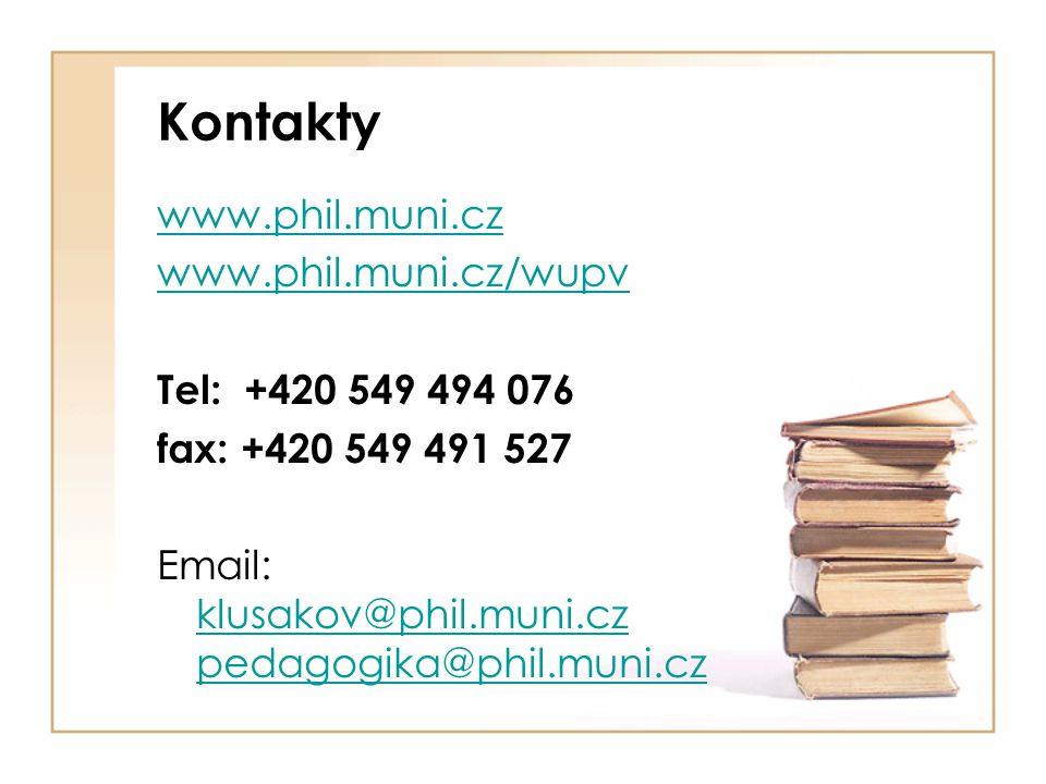 Kontakty www.phil.muni.cz www.phil.muni.cz/wupv Tel: +420 549 494 076 fax: +420 549 491 527 Email: klusakov@phil.muni.cz pedagogika@phil.muni.cz klusa