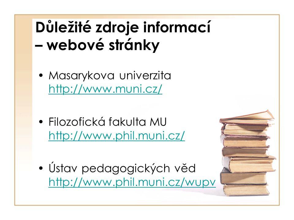 Důležité zdroje informací – webové stránky Masarykova univerzita http://www.muni.cz/ http://www.muni.cz/ Filozofická fakulta MU http://www.phil.muni.c