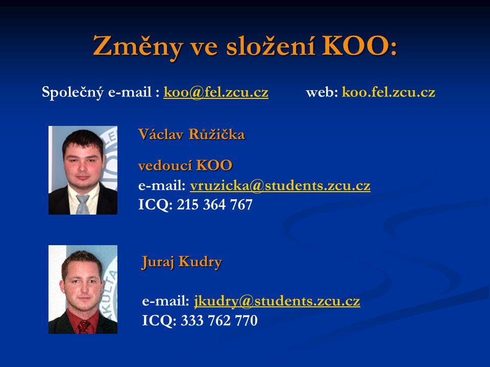 Změny ve složení KOO: Václav Růžička vedoucí KOO e-mail: vruzicka@students.zcu.czvruzicka@students.zcu.cz ICQ: 215 364 767 Společný e-mail : koo@fel.z