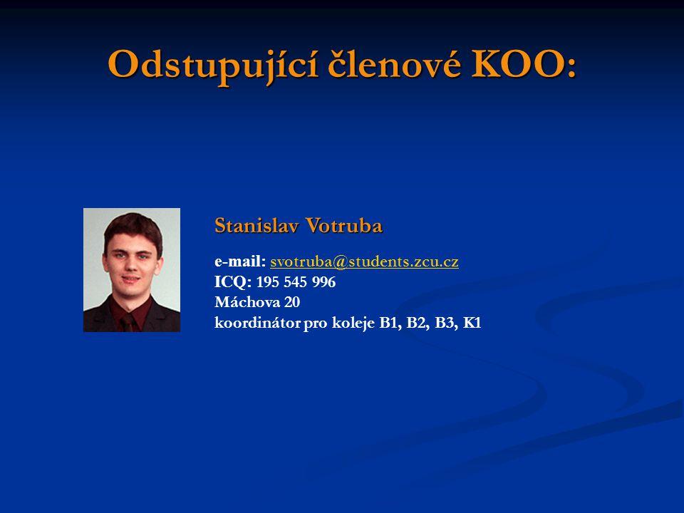Odstupující členové KOO: Stanislav Votruba e-mail: svotruba@students.zcu.cz svotruba@students.zcu.cz ICQ: 195 545 996 Máchova 20 koordinátor pro kolej
