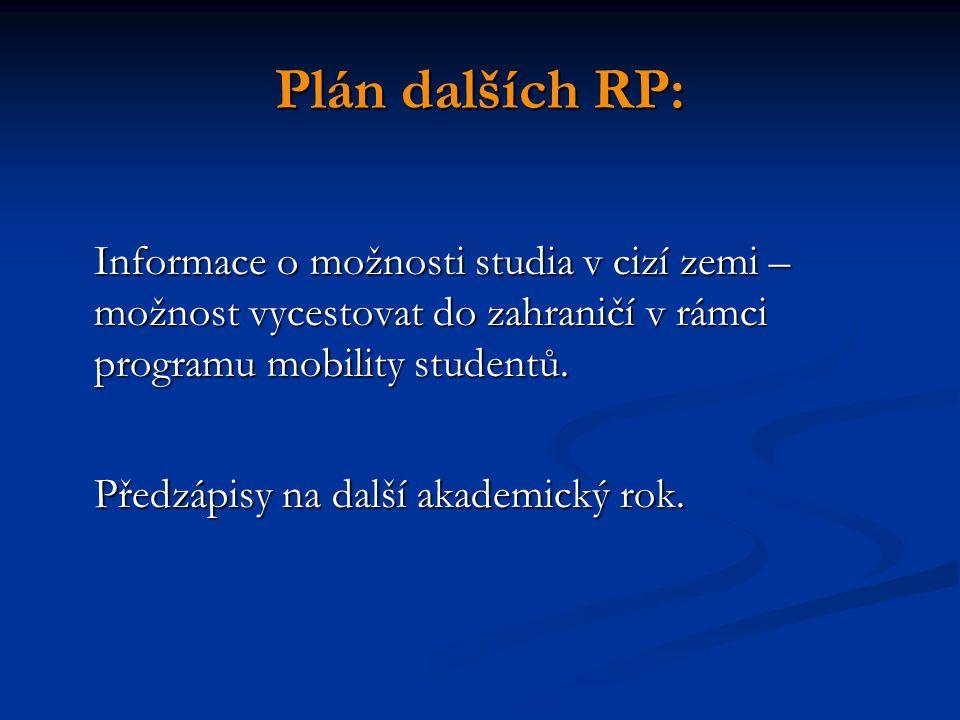 Plán dalších RP: Informace o možnosti studia v cizí zemi – možnost vycestovat do zahraničí v rámci programu mobility studentů. Předzápisy na další aka