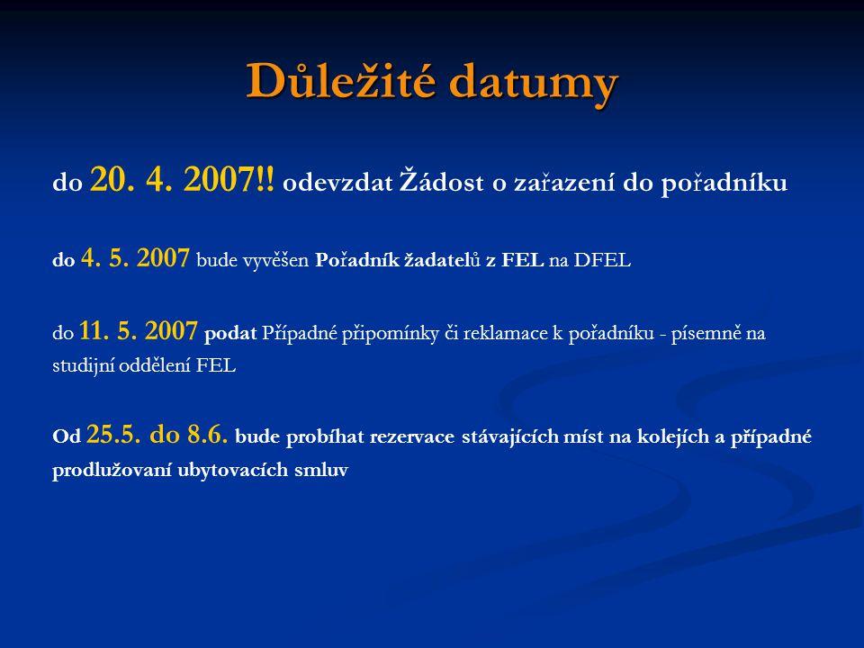 Důležité datumy do 20. 4. 2007!! odevzdat Žádost o zařazení do pořadníku do 4. 5. 2007 bude vyvěšen Pořadník žadatelů z FEL na DFEL do 11. 5. 2007 pod