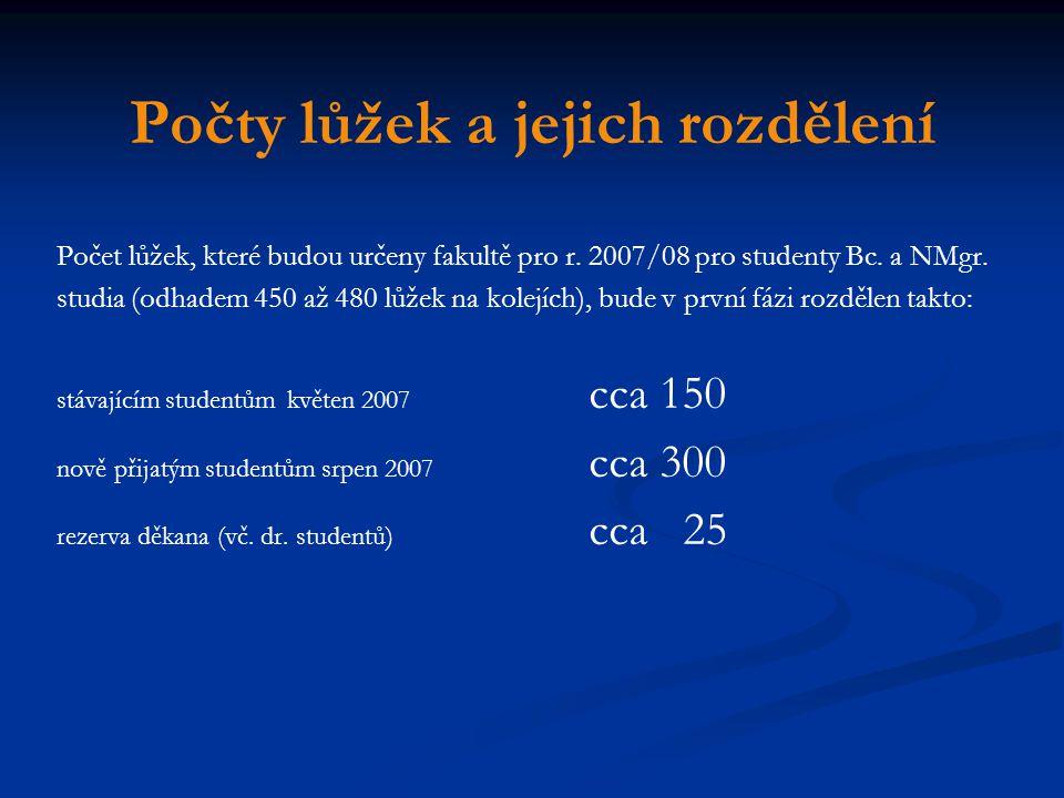 Počty lůžek a jejich rozdělení Počet lůžek, které budou určeny fakultě pro r. 2007/08 pro studenty Bc. a NMgr. studia (odhadem 450 až 480 lůžek na kol