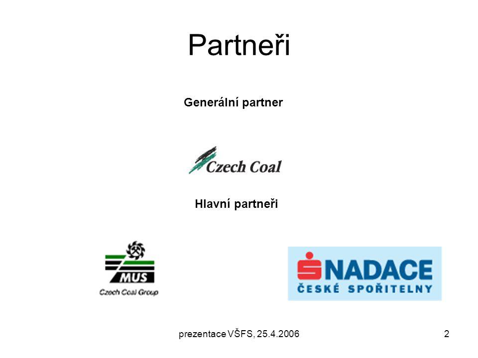 prezentace VŠFS, 25.4.20062 Partneři Generální partner Hlavní partneři