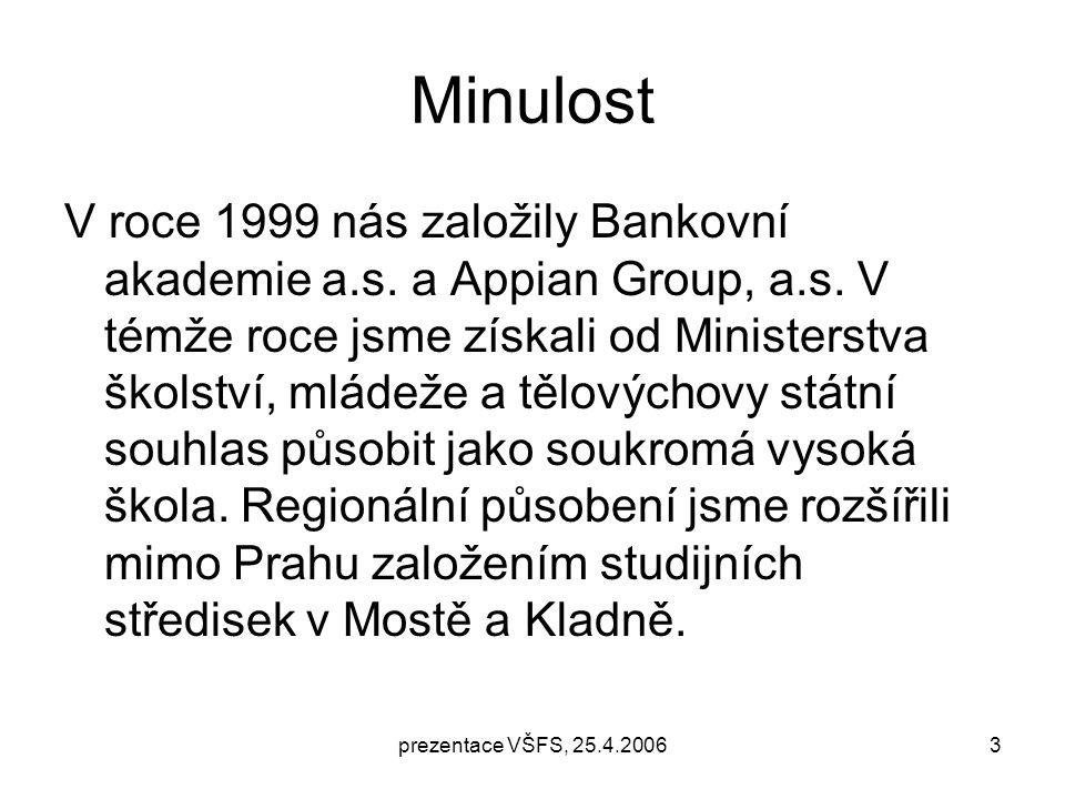 prezentace VŠFS, 25.4.20063 Minulost V roce 1999 nás založily Bankovní akademie a.s.