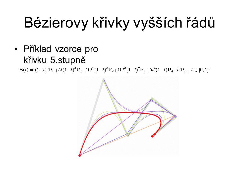 Bézierovy křivky vyšších řádů Příklad vzorce pro křivku 5.stupně