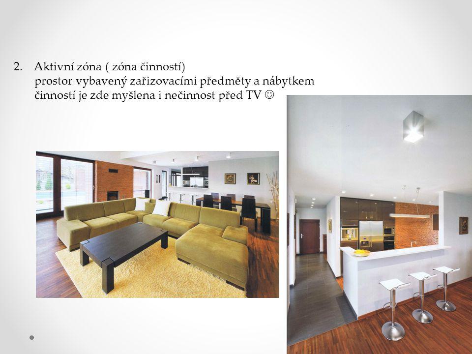 2. Aktivní zóna ( zóna činností) prostor vybavený zařizovacími předměty a nábytkem činností je zde myšlena i nečinnost před TV
