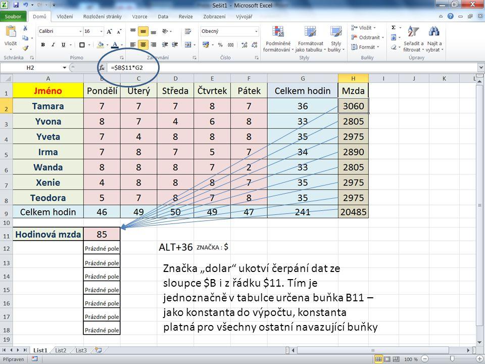 Úkol: Vytvoř tabulku s použitím absolutního odkazu.