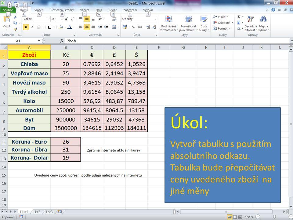 Úkol: Vytvoř tabulku s použitím absolutního odkazu. Tabulka bude přepočítávat ceny uvedeného zboží na jiné měny