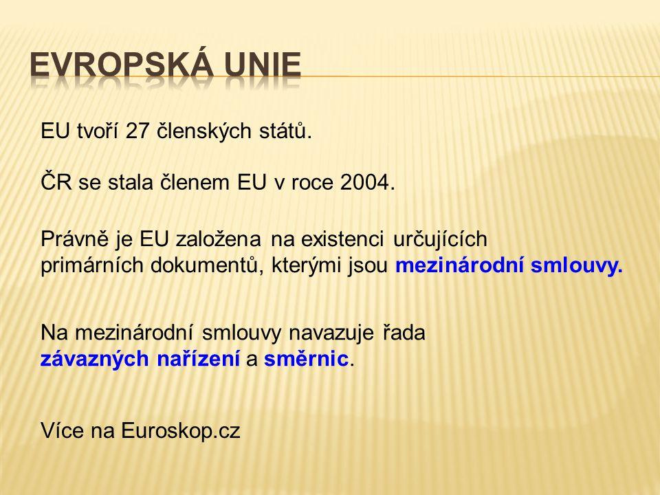 EU tvoří 27 členských států. ČR se stala členem EU v roce 2004. Právně je EU založena na existenci určujících primárních dokumentů, kterými jsou mezin