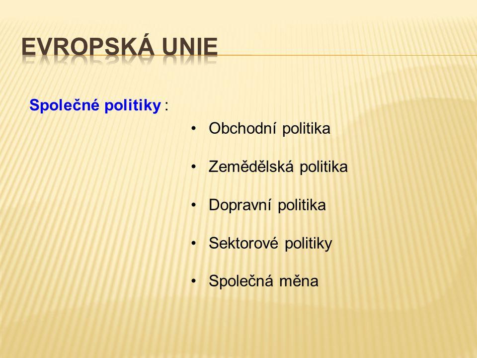 Společné politiky : Obchodní politika Zemědělská politika Dopravní politika Sektorové politiky Společná měna