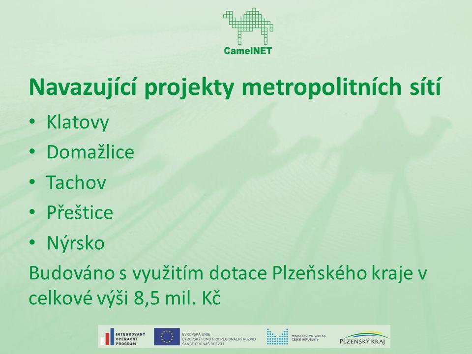 Navazující projekty metropolitních sítí Klatovy Domažlice Tachov Přeštice Nýrsko Budováno s využitím dotace Plzeňského kraje v celkové výši 8,5 mil.