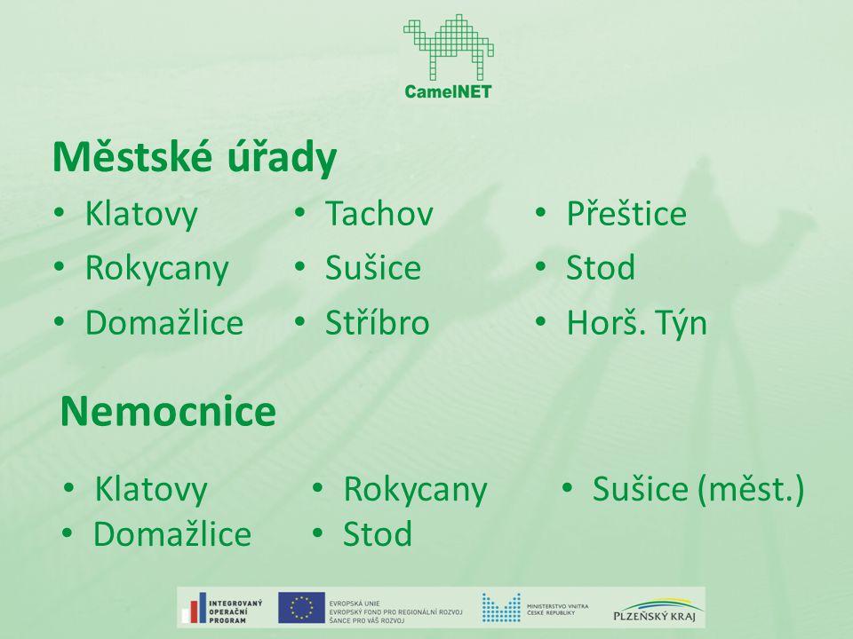 Městské úřady Klatovy Rokycany Domažlice Tachov Sušice Stříbro Přeštice Stod Horš.