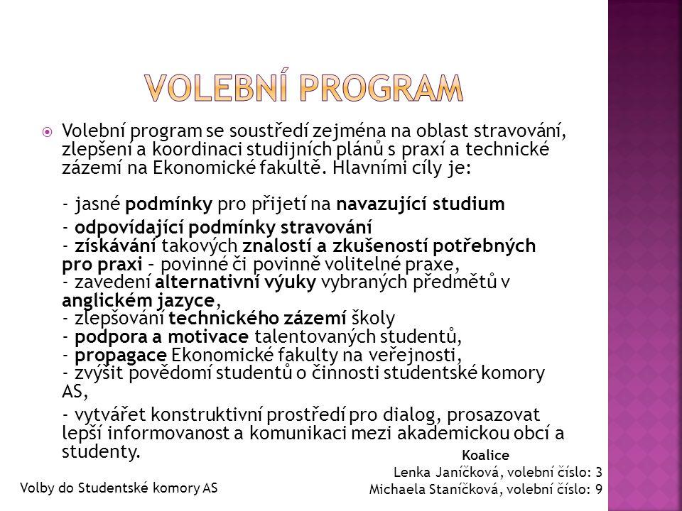  Volební program se soustředí zejména na oblast stravování, zlepšení a koordinaci studijních plánů s praxí a technické zázemí na Ekonomické fakultě.