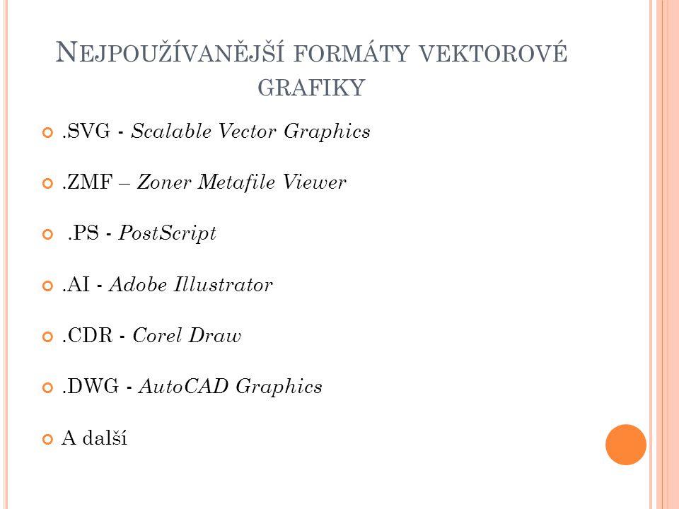 N EJPOUŽÍVANĚJŠÍ FORMÁTY VEKTOROVÉ GRAFIKY.SVG - Scalable Vector Graphics.ZMF – Zoner Metafile Viewer.PS - PostScript.AI - Adobe Illustrator.CDR - Cor