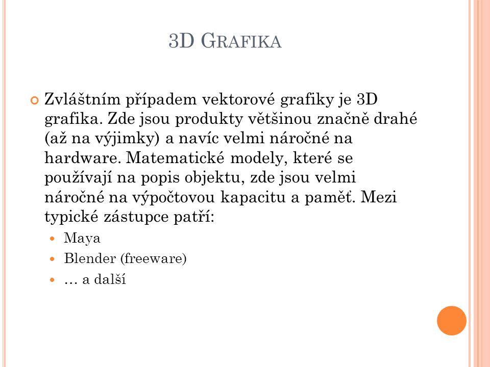 3D G RAFIKA Zvláštním případem vektorové grafiky je 3D grafika. Zde jsou produkty většinou značně drahé (až na výjimky) a navíc velmi náročné na hardw