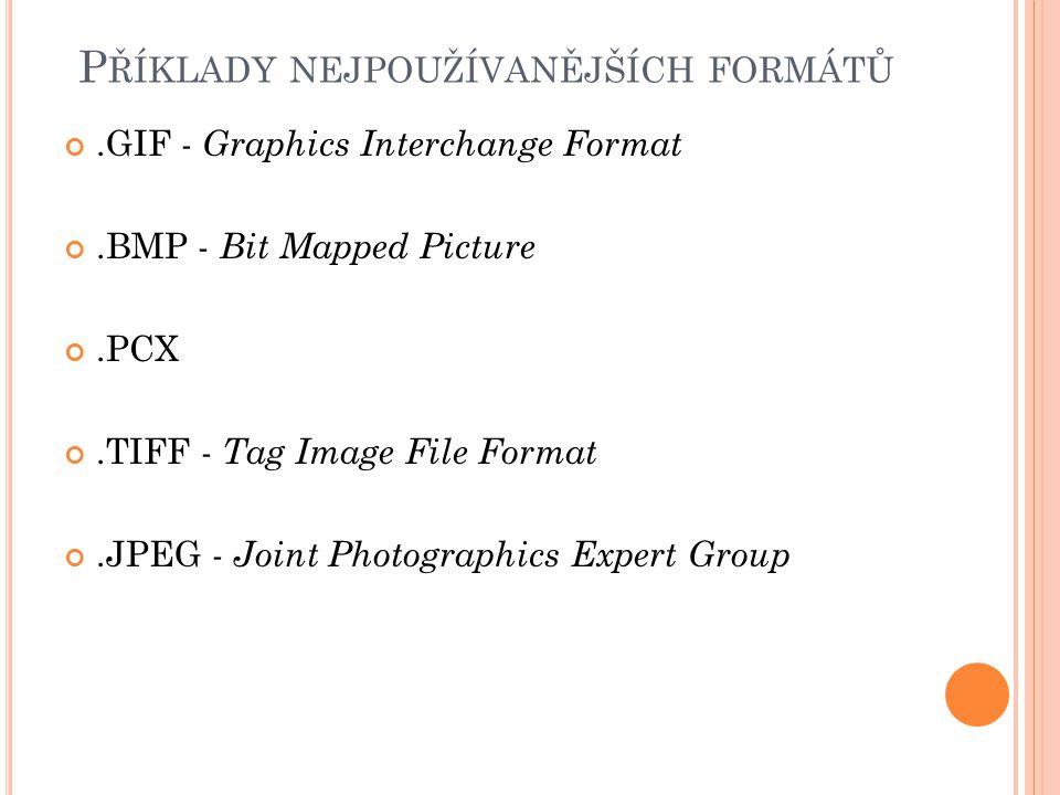 P ŘÍKLADY NEJPOUŽÍVANĚJŠÍCH FORMÁTŮ.GIF - Graphics Interchange Format.BMP - Bit Mapped Picture.PCX.TIFF - Tag Image File Format.JPEG - Joint Photograp