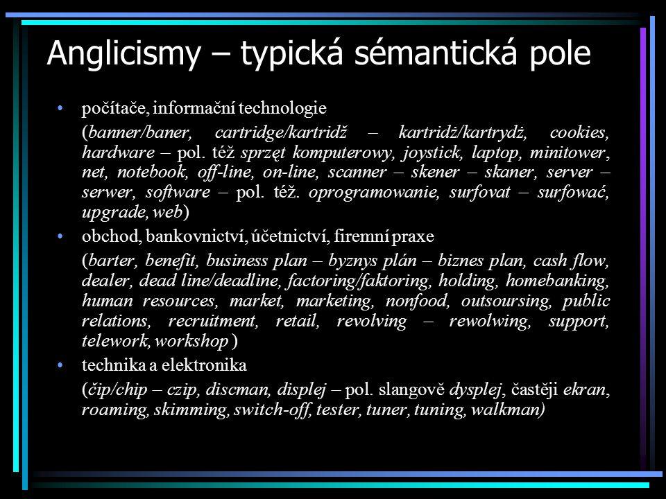 Anglicismy – typická sémantická pole počítače, informační technologie (banner/baner, cartridge/kartridž – kartridż/kartrydż, cookies, hardware – pol.