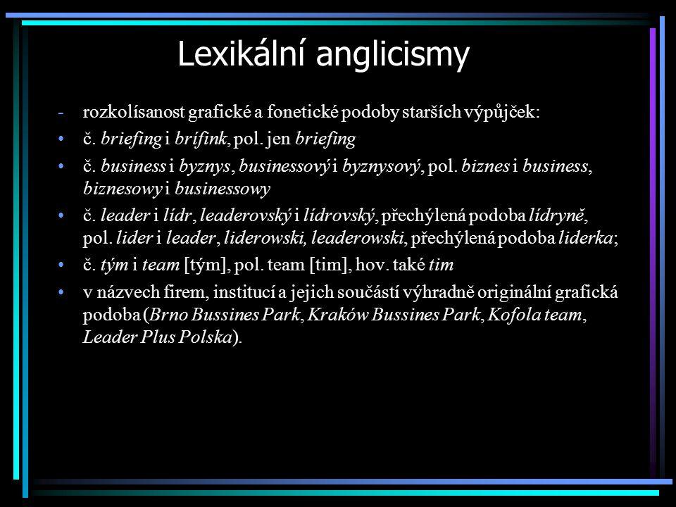 Lexikální anglicismy -rozkolísanost grafické a fonetické podoby starších výpůjček: č. briefing i brífink, pol. jen briefing č. business i byznys, busi