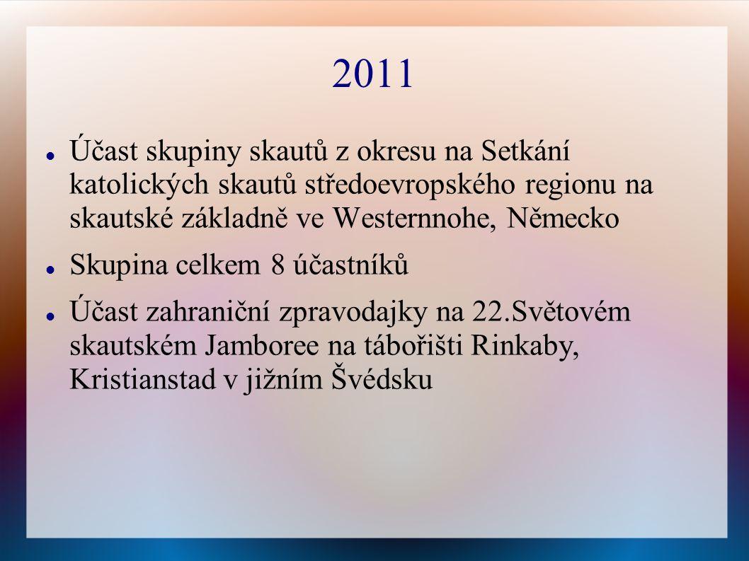 2011 Účast skupiny skautů z okresu na Setkání katolických skautů středoevropského regionu na skautské základně ve Westernnohe, Německo Skupina celkem 8 účastníků Účast zahraniční zpravodajky na 22.Světovém skautském Jamboree na tábořišti Rinkaby, Kristianstad v jižním Švédsku