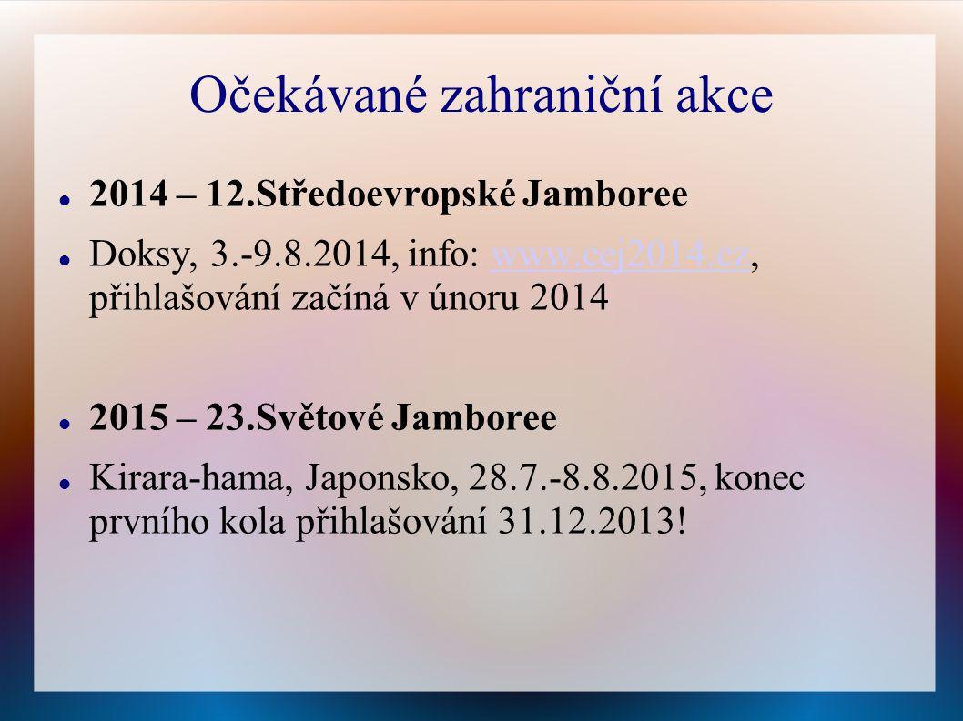 Očekávané zahraniční akce 2014 – 12.Středoevropské Jamboree Doksy, 3.-9.8.2014, info: www.cej2014.cz, přihlašování začíná v únoru 2014www.cej2014.cz 2015 – 23.Světové Jamboree Kirara-hama, Japonsko, 28.7.-8.8.2015, konec prvního kola přihlašování 31.12.2013!
