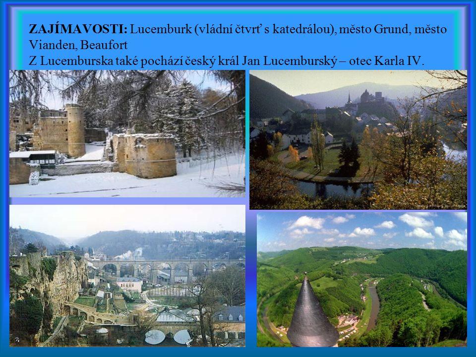ZAJÍMAVOSTI: Lucemburk (vládní čtvrť s katedrálou), město Grund, město Vianden, Beaufort Z Lucemburska také pochází český král Jan Lucemburský – otec
