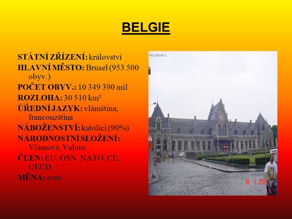 BELGIE STÁTNÍ ZŘÍZENÍ: království HLAVNÍ MĚSTO: Brusel (953 500 obyv.) POČET OBYV.: 10 349 390 mil ROZLOHA: 30 510 km² ÚŘEDNÍ JAZYK: vlámština, franco