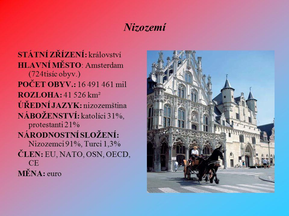 Nizozemí STÁTNÍ ZŘÍZENÍ: království HLAVNÍ MĚSTO: Amsterdam (724tisíc obyv.) POČET OBYV.: 16 491 461 mil ROZLOHA: 41 526 km² ÚŘEDNÍ JAZYK: nizozemštin