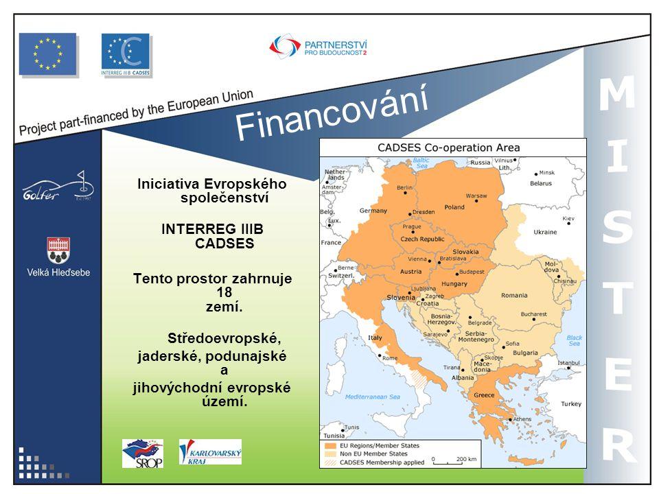 Financování Iniciativa Evropského společenství INTERREG IIIB CADSES Tento prostor zahrnuje 18 zemí. Středoevropské, jaderské, podunajské a jihovýchodn