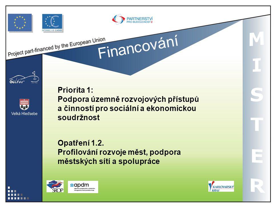 Financování Priorita 1: Podpora územně rozvojových přístupů a činností pro sociální a ekonomickou soudržnost Opatření 1.2. Profilování rozvoje měst, p