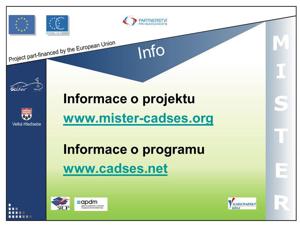 Info Informace o projektu www.mister-cadses.org Informace o programu www.cadses.net