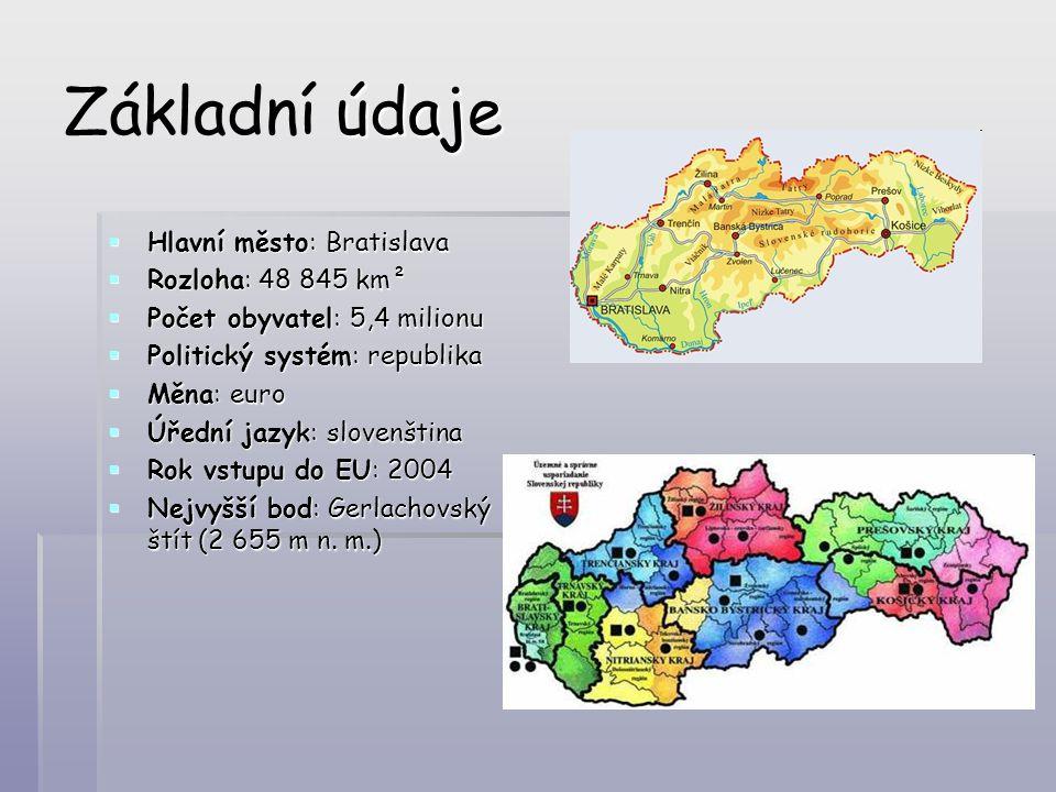 údaje Základní údaje  Hlavní město: Bratislava  Rozloha: 48 845 km²  Počet obyvatel: 5,4 milionu  Politický systém: republika  Měna: euro  Úředn