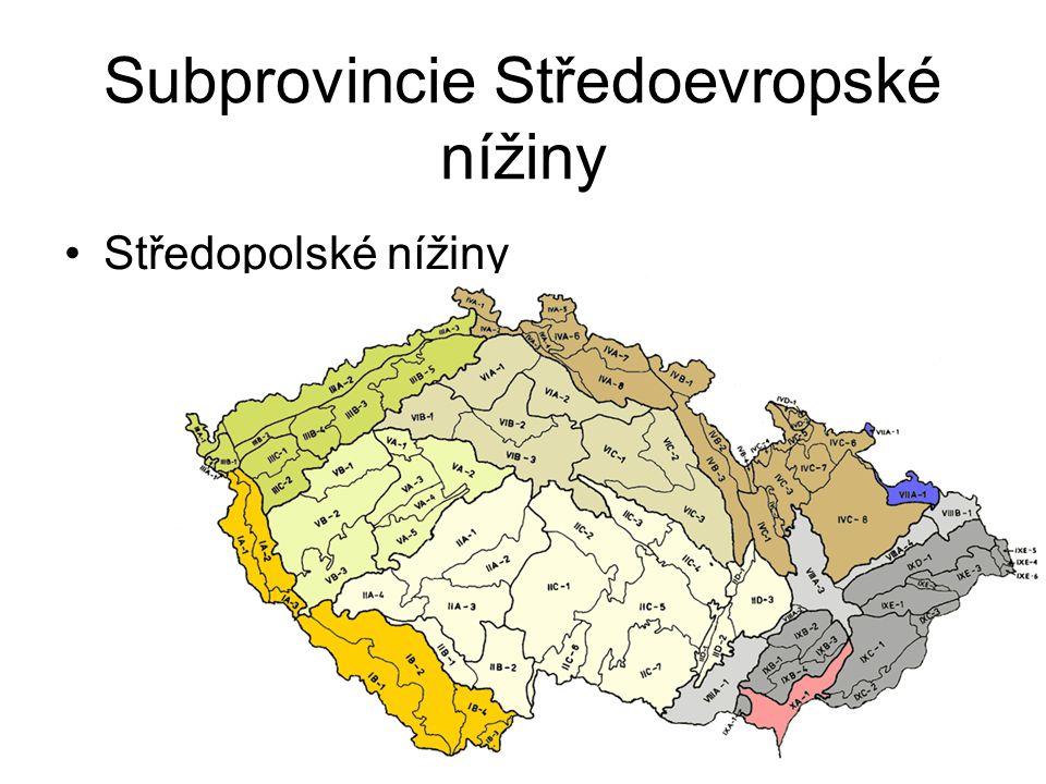 Subprovincie Středoevropské nížiny Středopolské nížiny